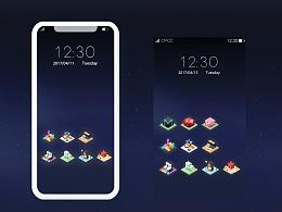 <方块>2.5D手机主题UI设计