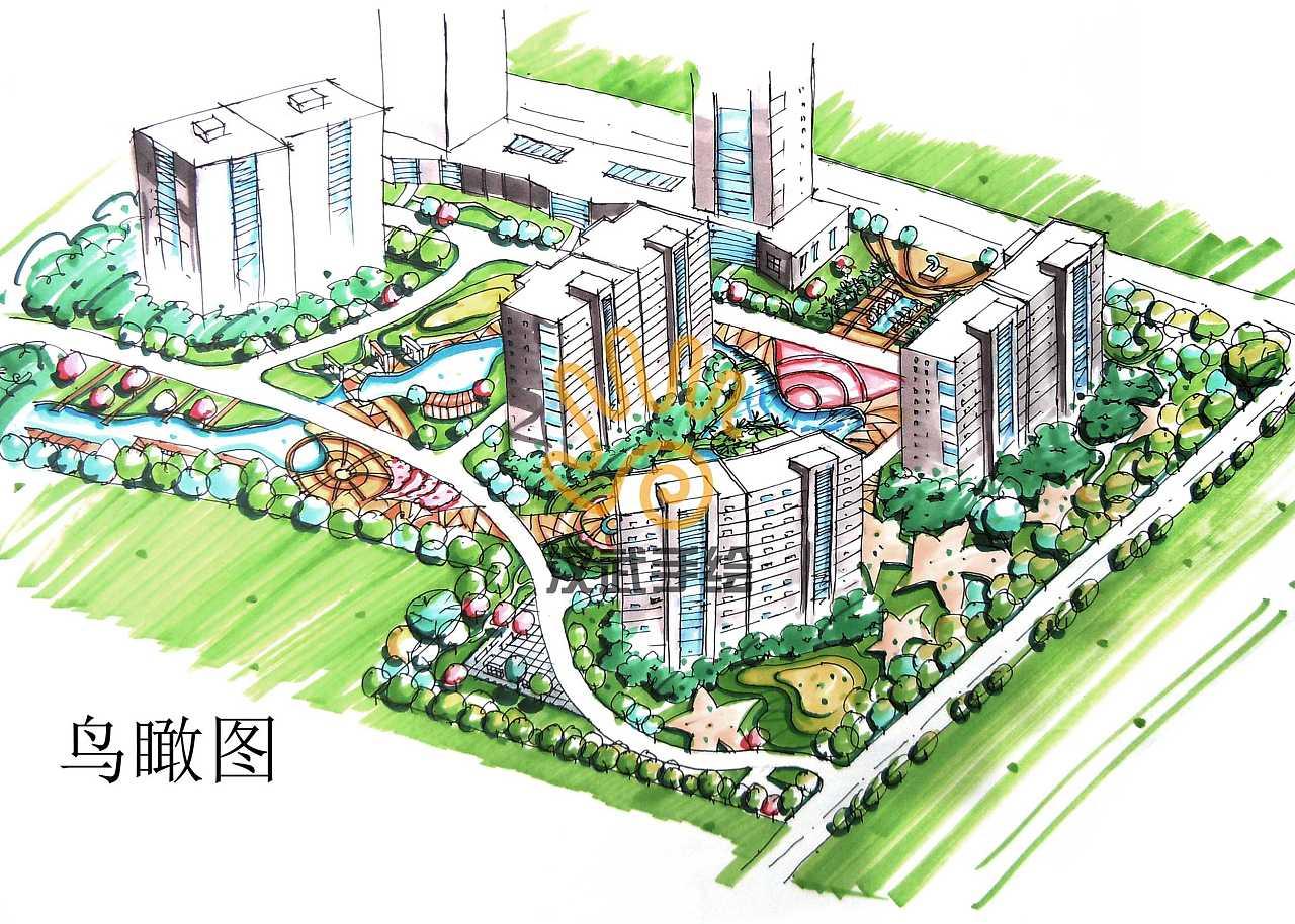 城市规划设计考研手绘快题作品图片