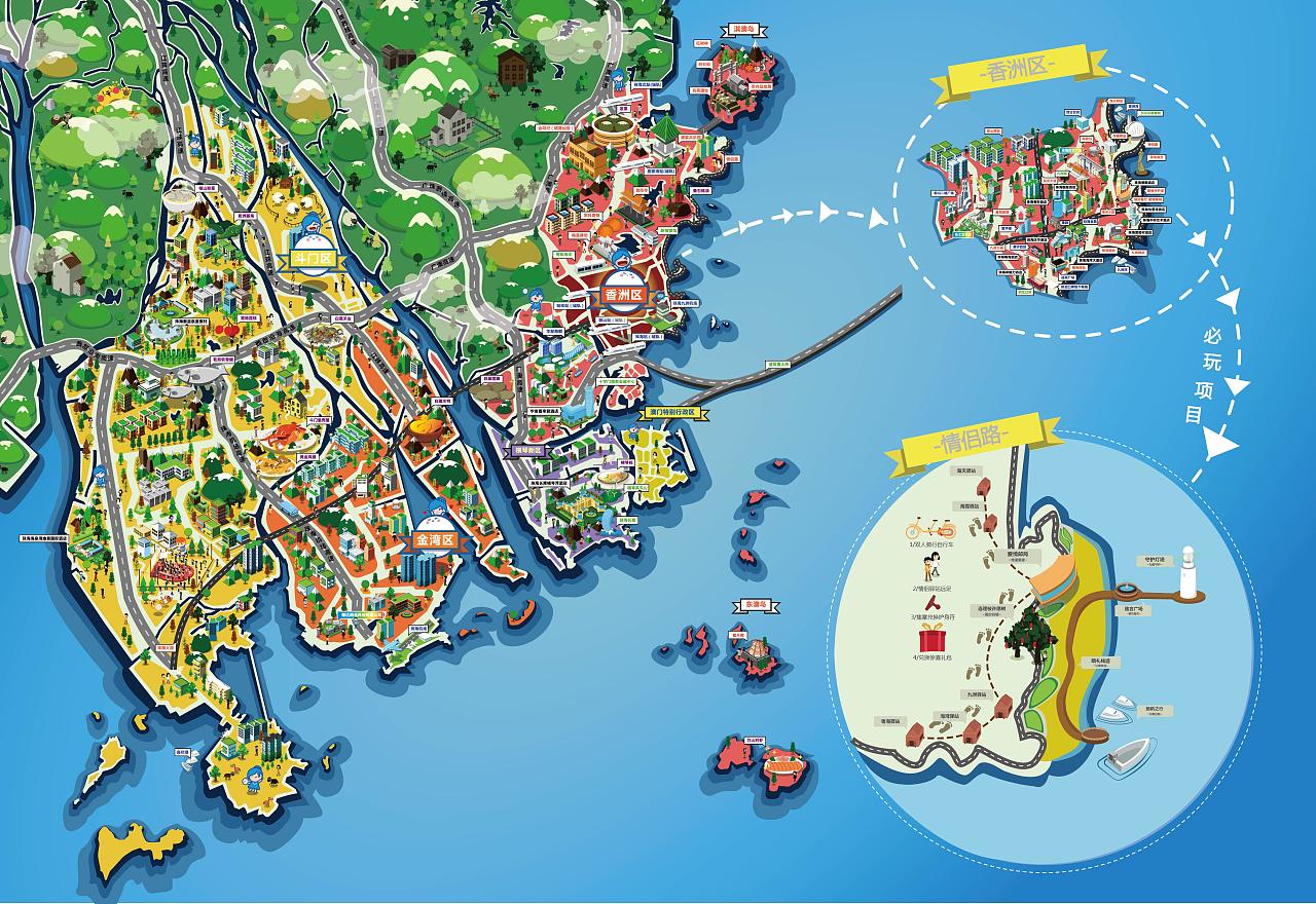 珠海城市卡通地图