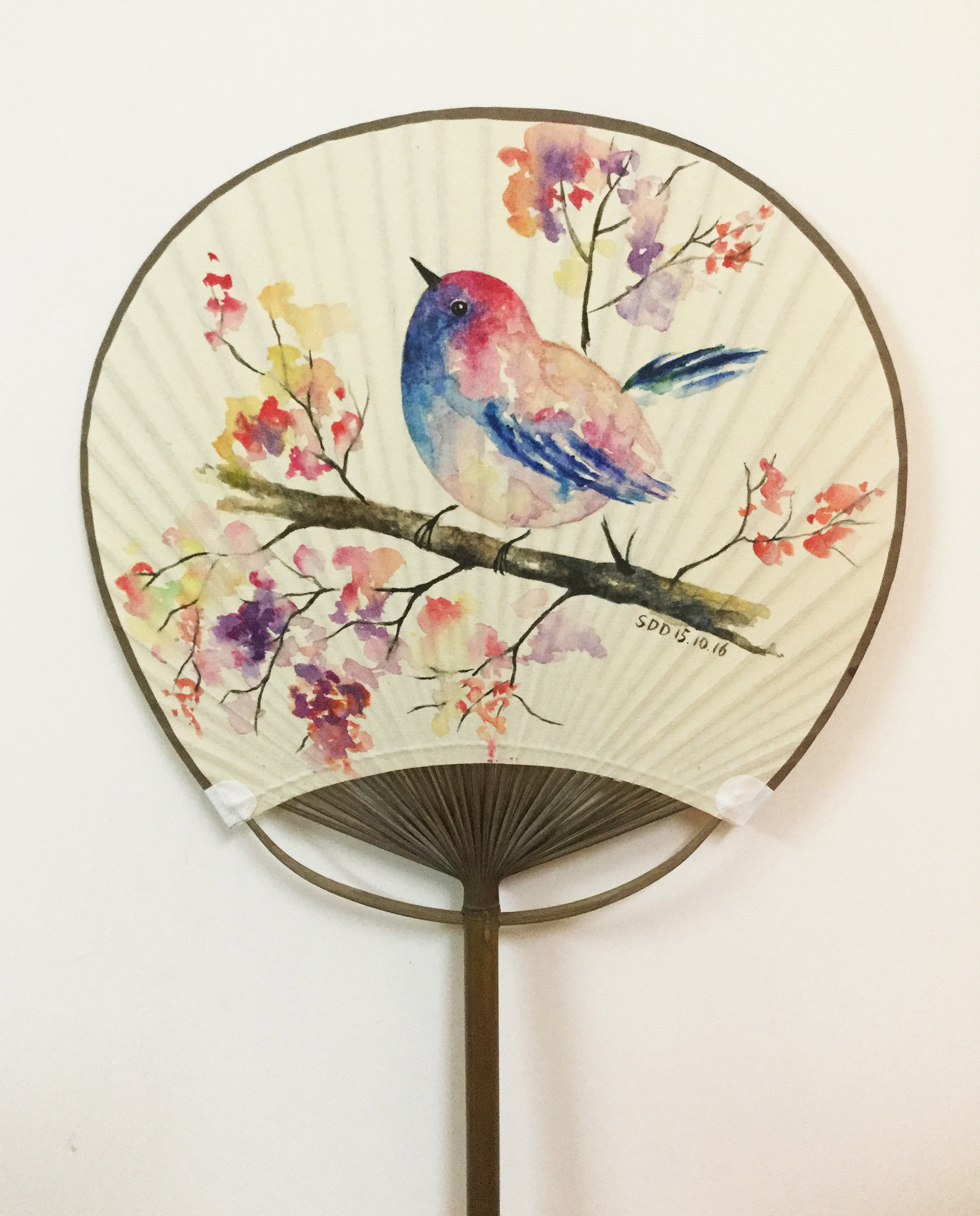 原创水彩画-扇子与小鸟图片