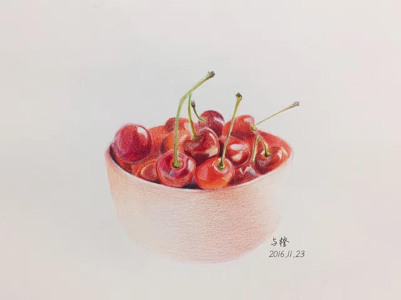 彩铅手绘-樱桃