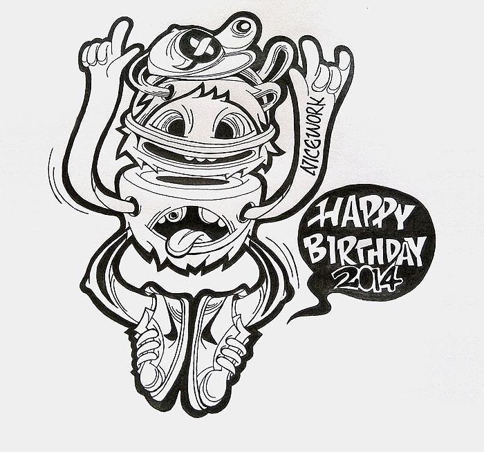 给自己撸的生日贺图|插画|插画习作|乐小怪物 - 原创