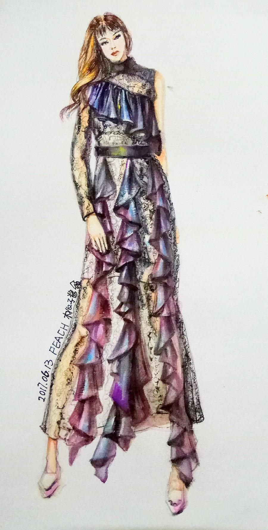 手绘水彩蕾丝质感服装效果图