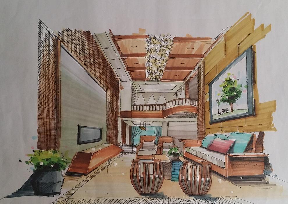 手绘|空间|室内设计|nn张宁 - 原创作品 - 站酷