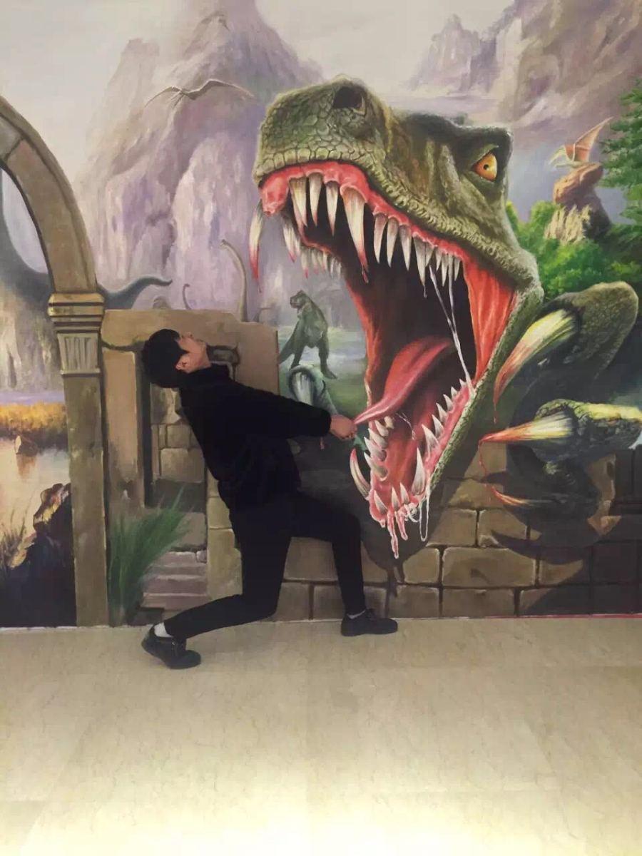 侏罗纪公园3 3d版_原创绘制3D立体画,侏罗纪公园/恐龙时代再现|墙绘/立体画|其他 ...