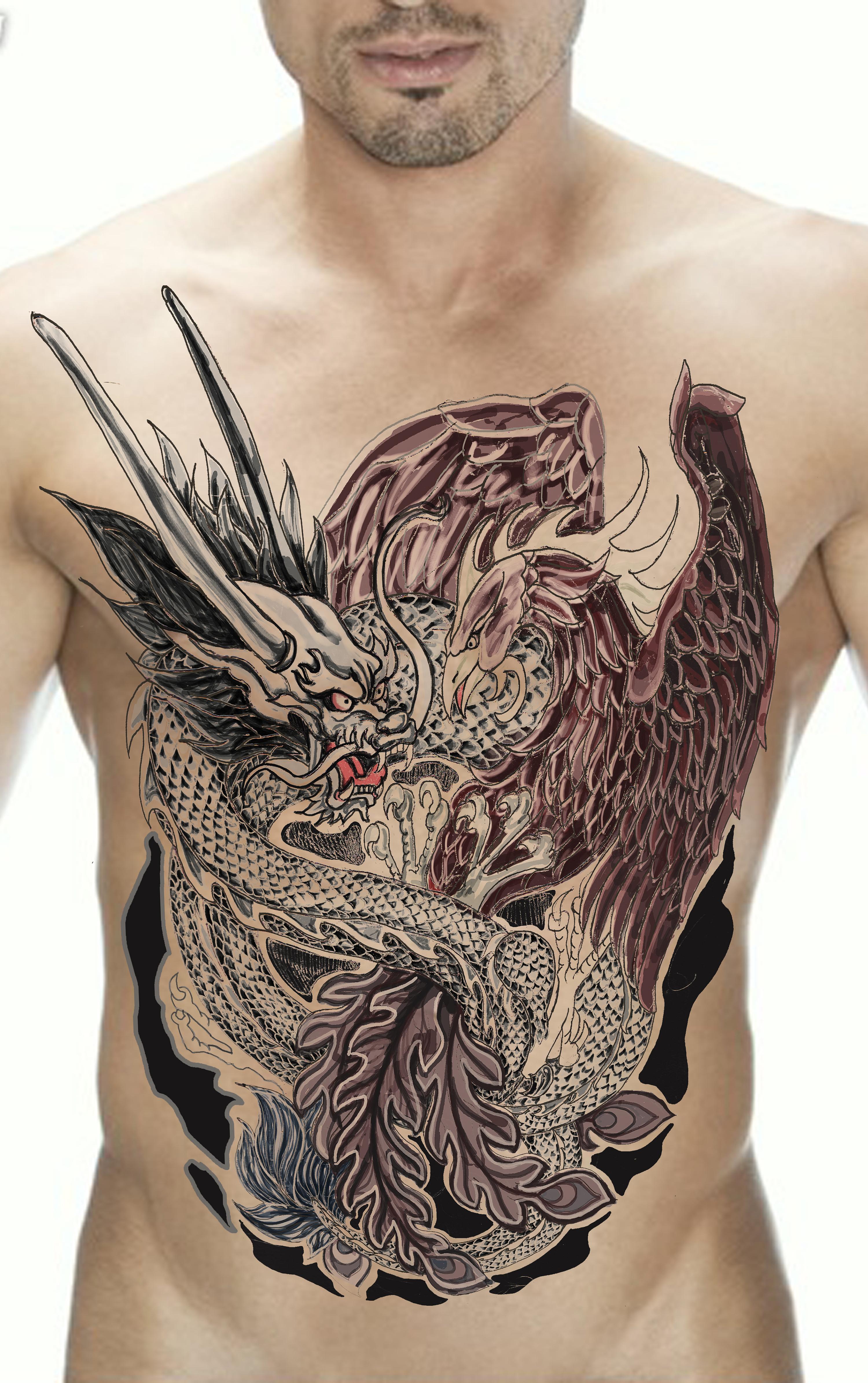 龙凤纹身图片