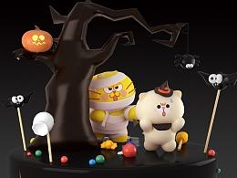 蛋黄猫万圣节恐怖大蛋糕