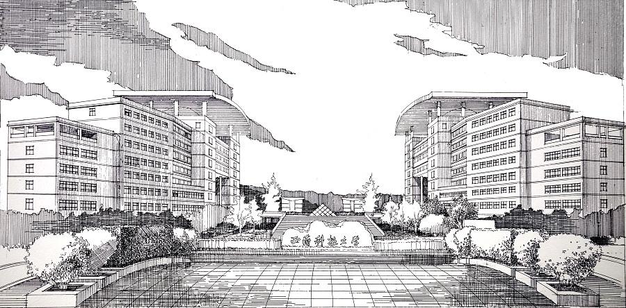 建筑大门马克笔手绘