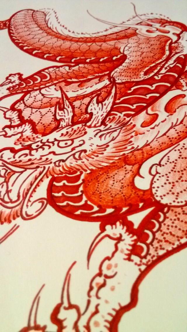 纹身手稿——红龙|商业插画|插画|2nu7lg