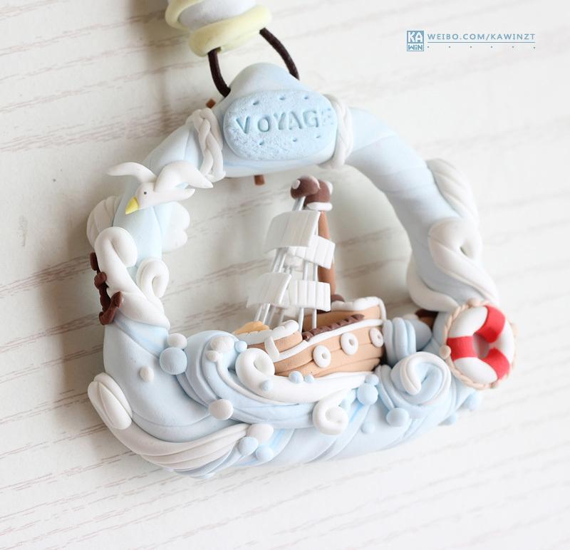 【超轻粘土】海洋风吊饰 轮船与美人鱼(教程)