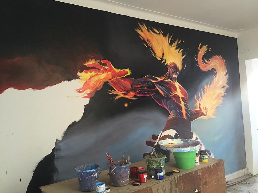 昆明手绘墙画墙体彩绘制作设计培训3d彩绘网吧网咖彩绘艺术墙绘