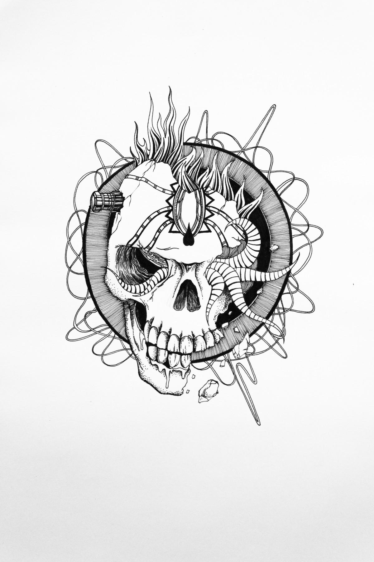 笔手绘骷髅简笔画