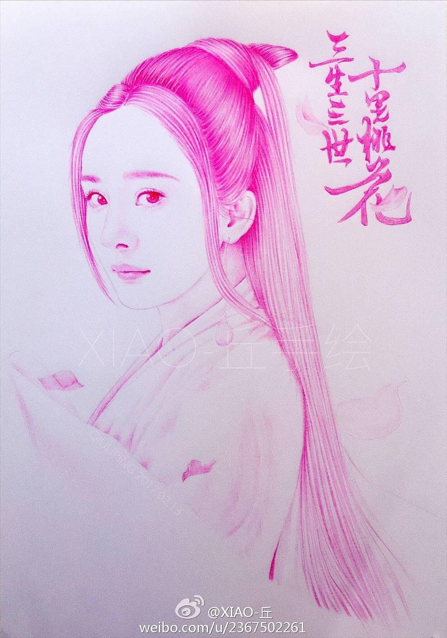 圆珠笔手绘三生三世十里桃花之白浅|商业插画|插画|丘