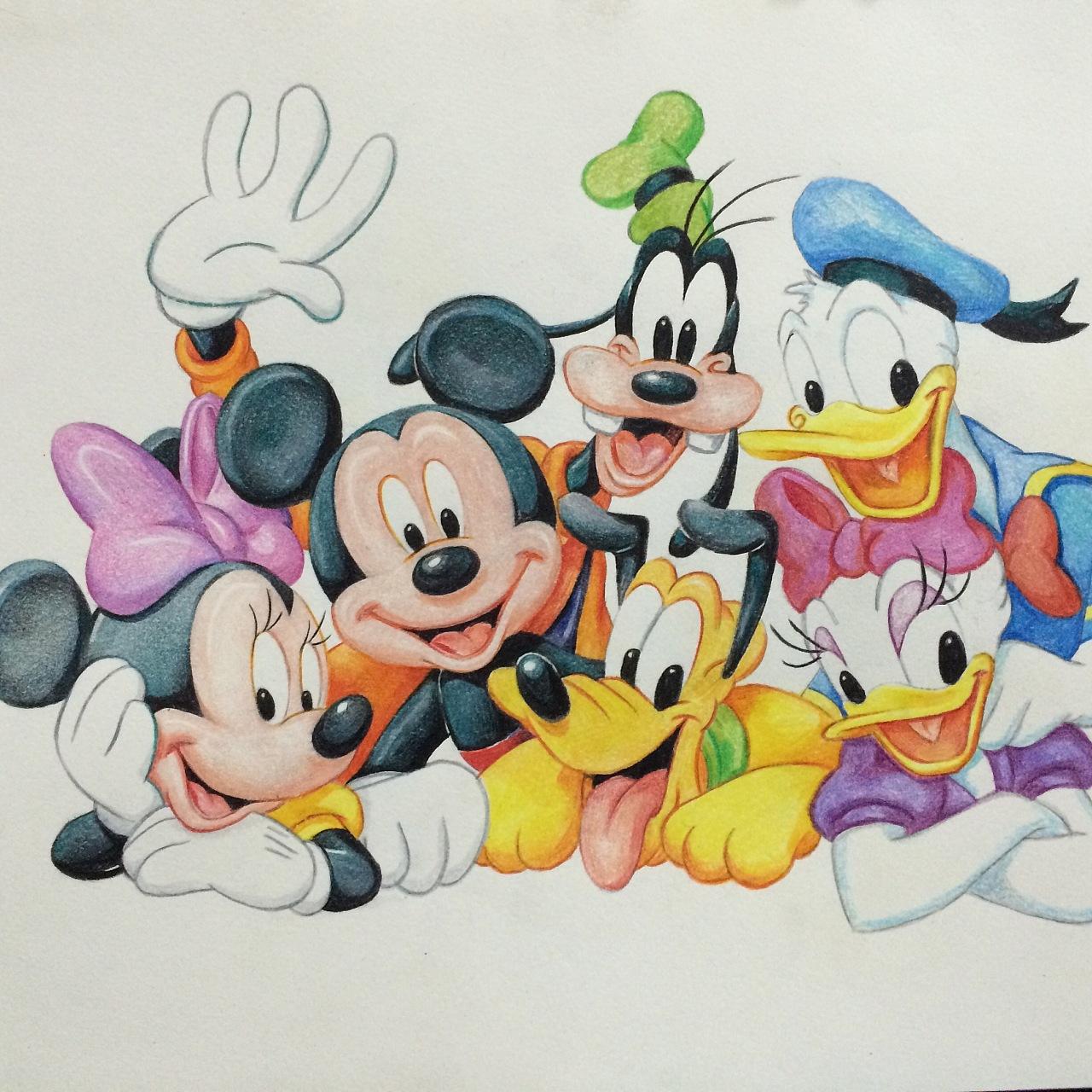 迪斯尼卡通人物-彩铅手绘