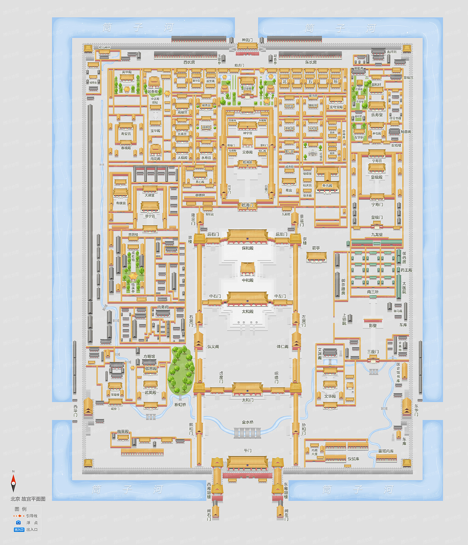 腾讯地图手绘平面图样例——故宫博物院
