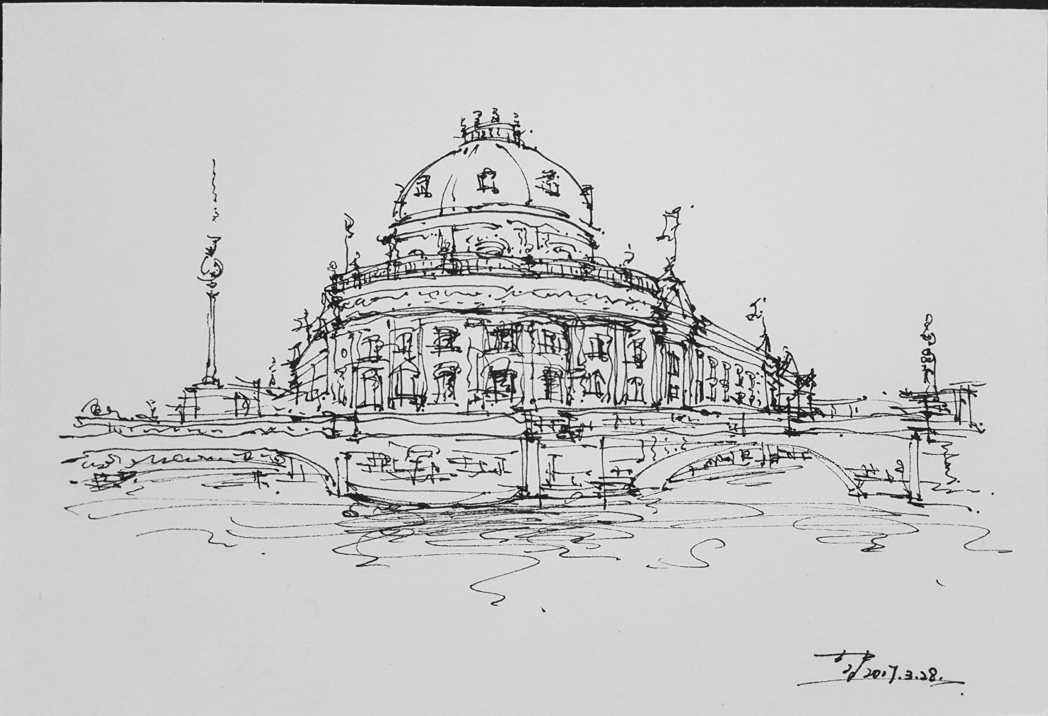 近日练习 钢笔建筑手绘 原创 20170329