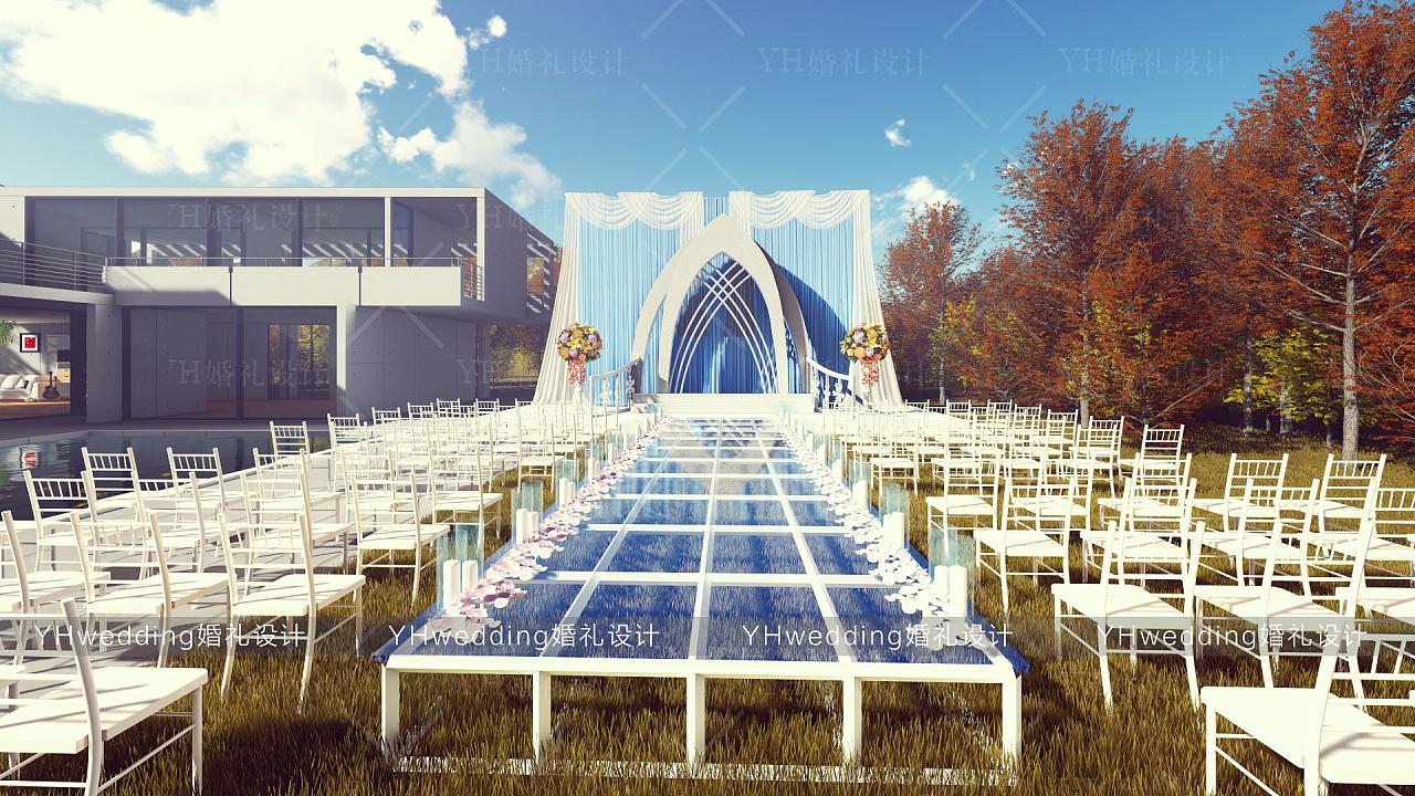 yhwedding婚礼设计 户外婚礼3d效果图 泳池别墅农乡村图片