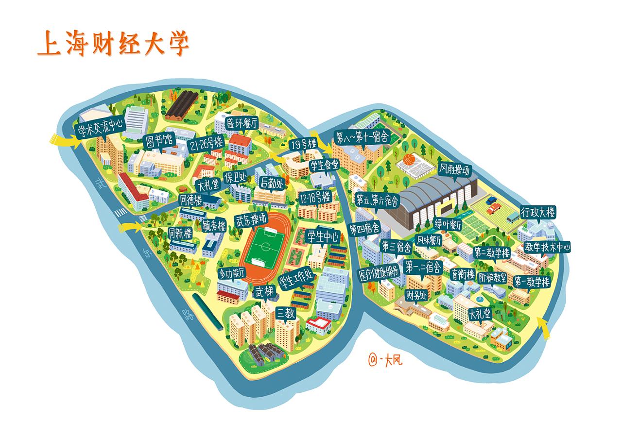上海高校手绘地图