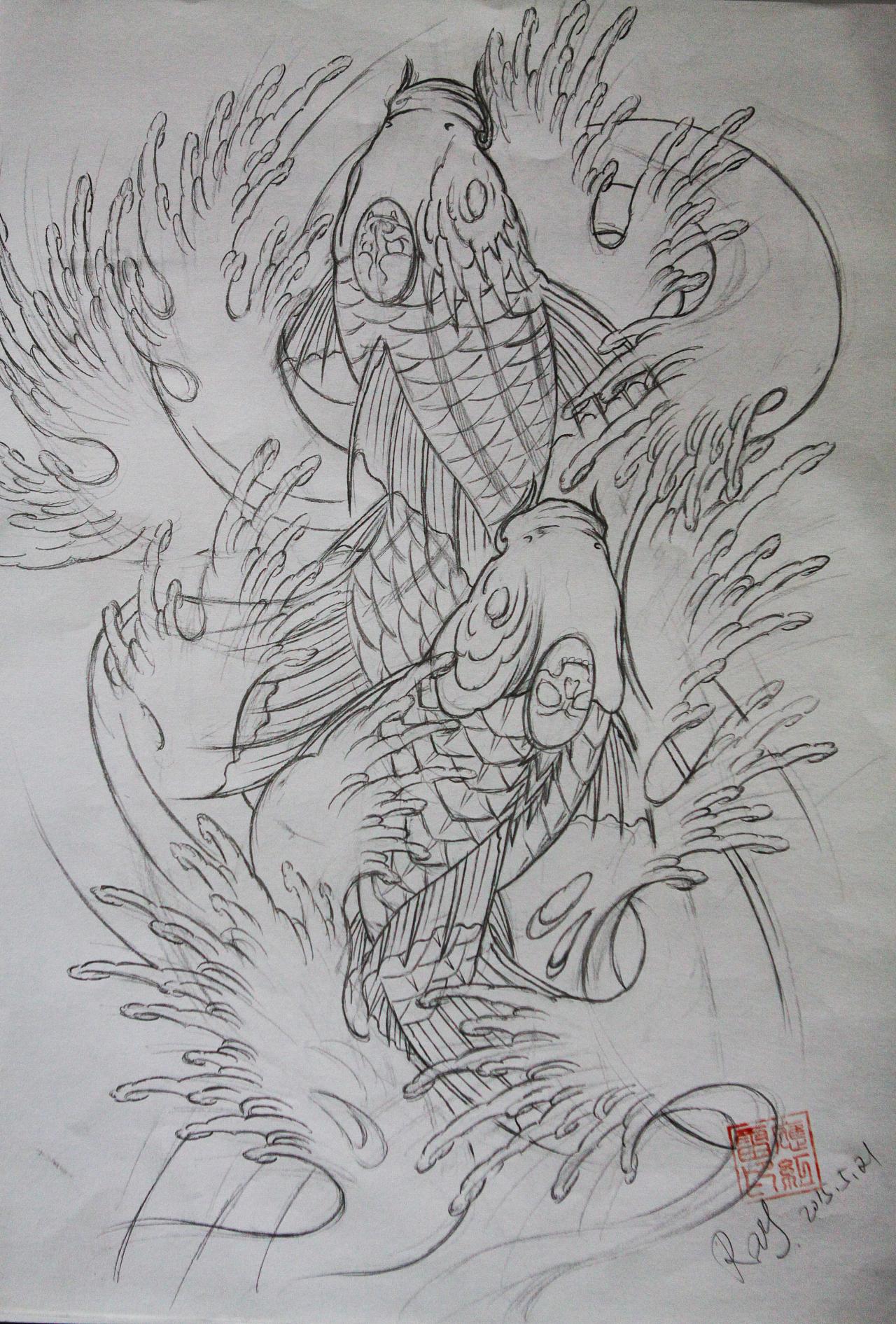 纹身鱼手稿 线稿