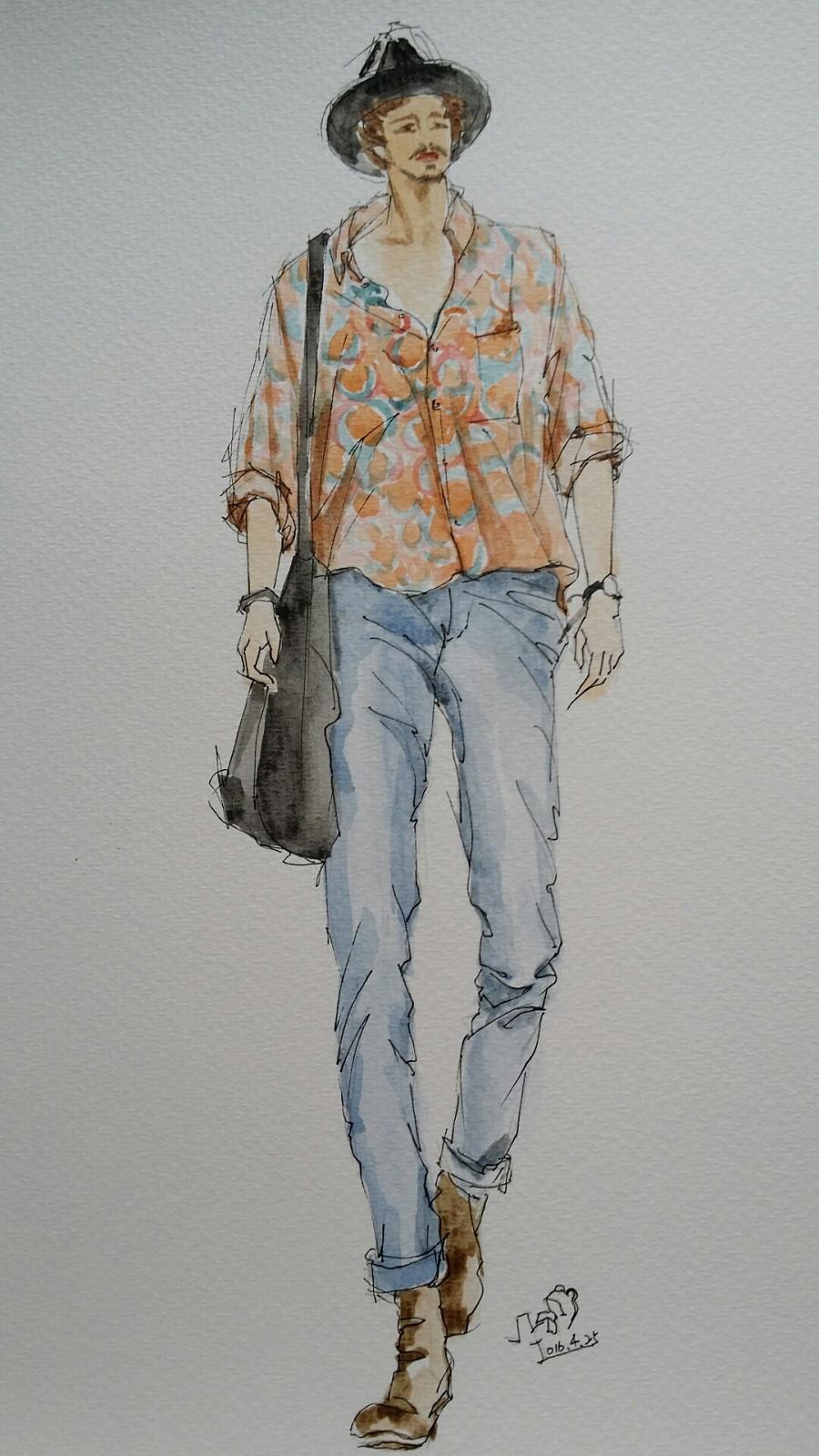 手绘时装插画(男装夏季搭配)|休闲/流行服饰|服装|箐