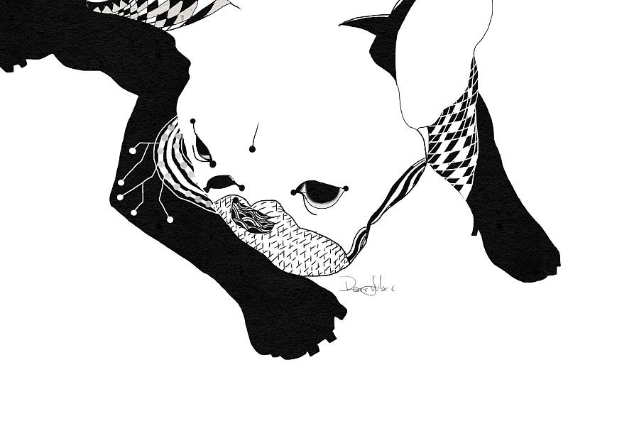 黑白插画 狗子