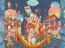 尊尼获加蓝牌威士忌-上海 佛山 城市主题定制插画