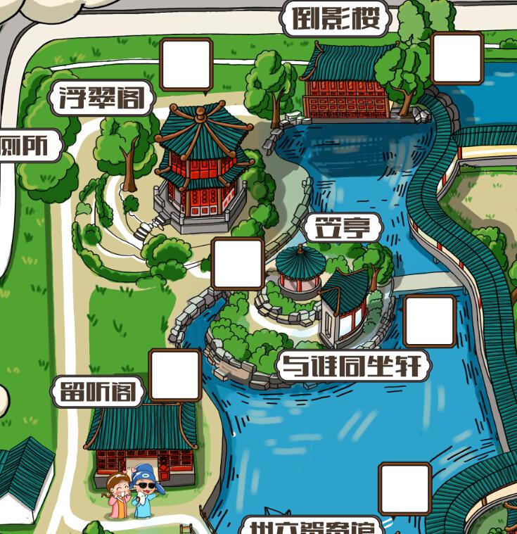 拙政园手绘地图 旅游手绘地图