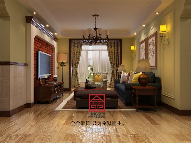 【华堂聚瑞】-大宅装修--两室两厅110平米-美式