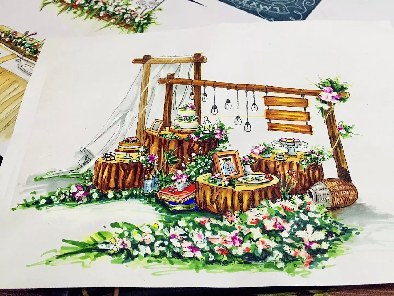 森林主题婚礼手绘