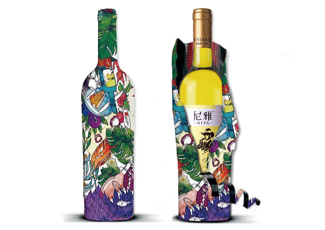 手绘葡萄酒包装