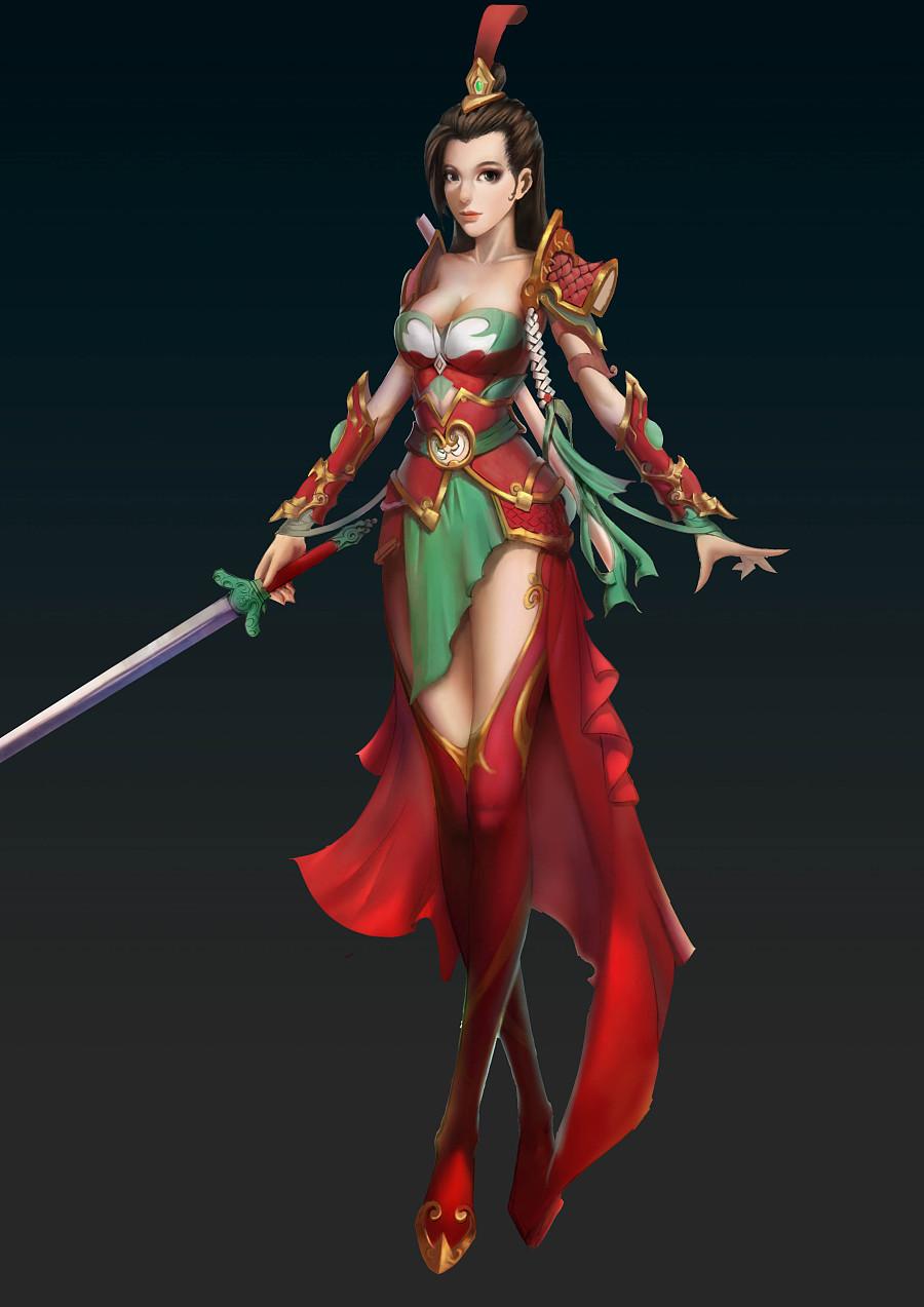 将军女 女战士 仙剑 人物原画设定 游戏原画 中国风