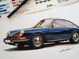 马克笔汽车手绘 Porsche 第一代 911(1964-1973)