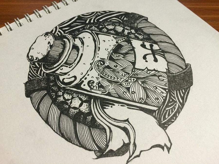 手绘黑白线描游戏图标(药水)|其他绘画|插画|鱼哥哥