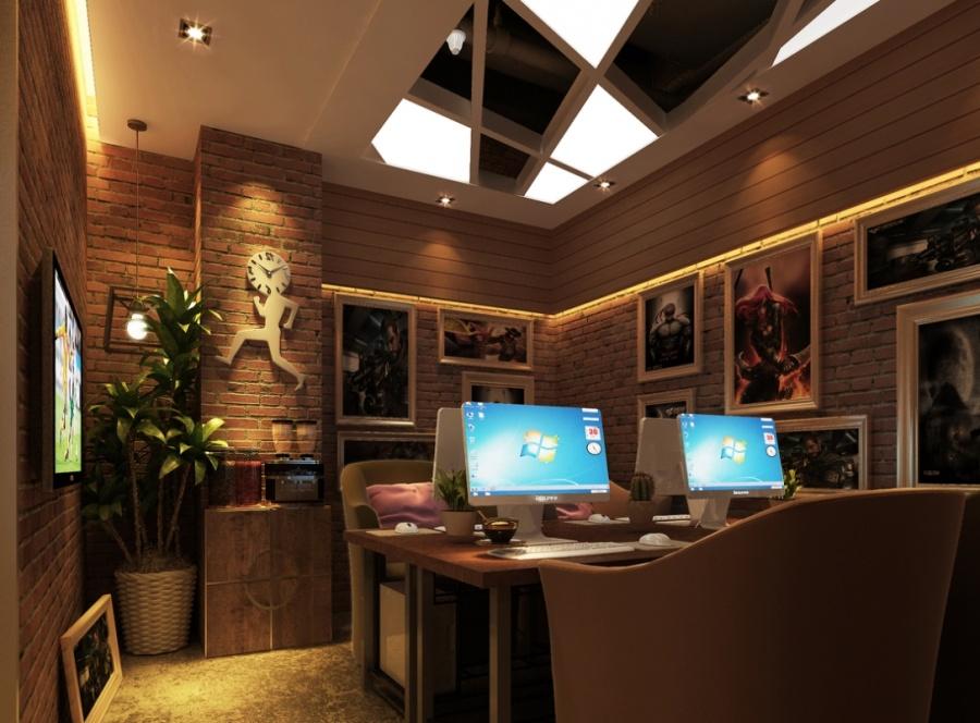雅安网咖 装修 设计公司 工业风绿色 动漫网吧设高清图片