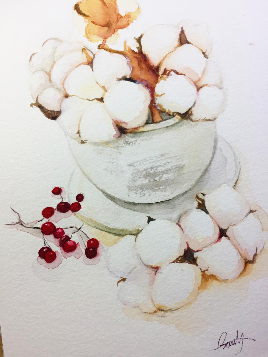水彩手绘-棉花|水彩|纯艺术|蒲之未落