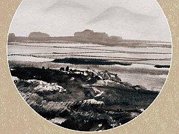 八幅圆形山水国画习作