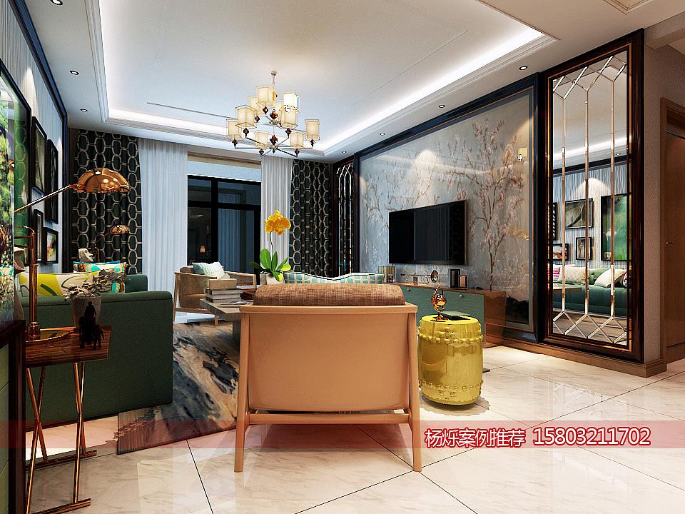 盛益华苑商品房130平米新中式装修案例效果图