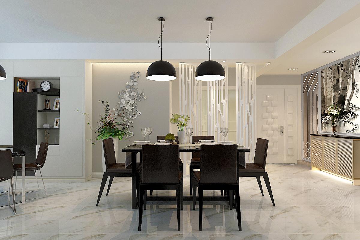 【盛世御城装修】盛世御城黑白色调现代简约风格126平三居室装修效果