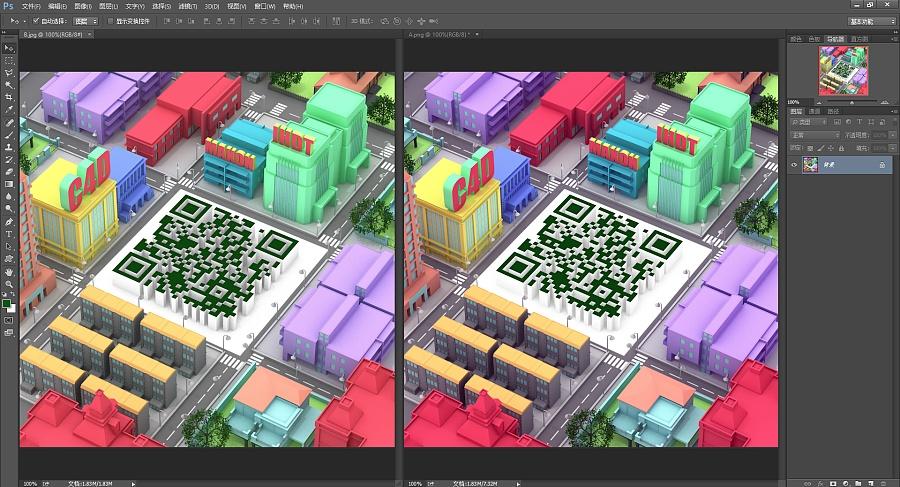 使用C4D制作富有个性的立体场景二维码 场景