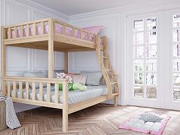 极简儿童床渲染