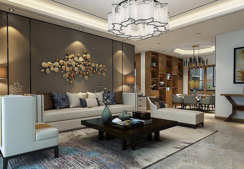 悦湖三室两厅128平港式风格装修样板间需要室内设计软装素材图片大全图片