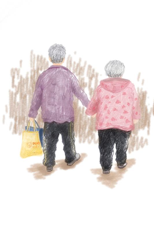 两位老人牵手简笔画