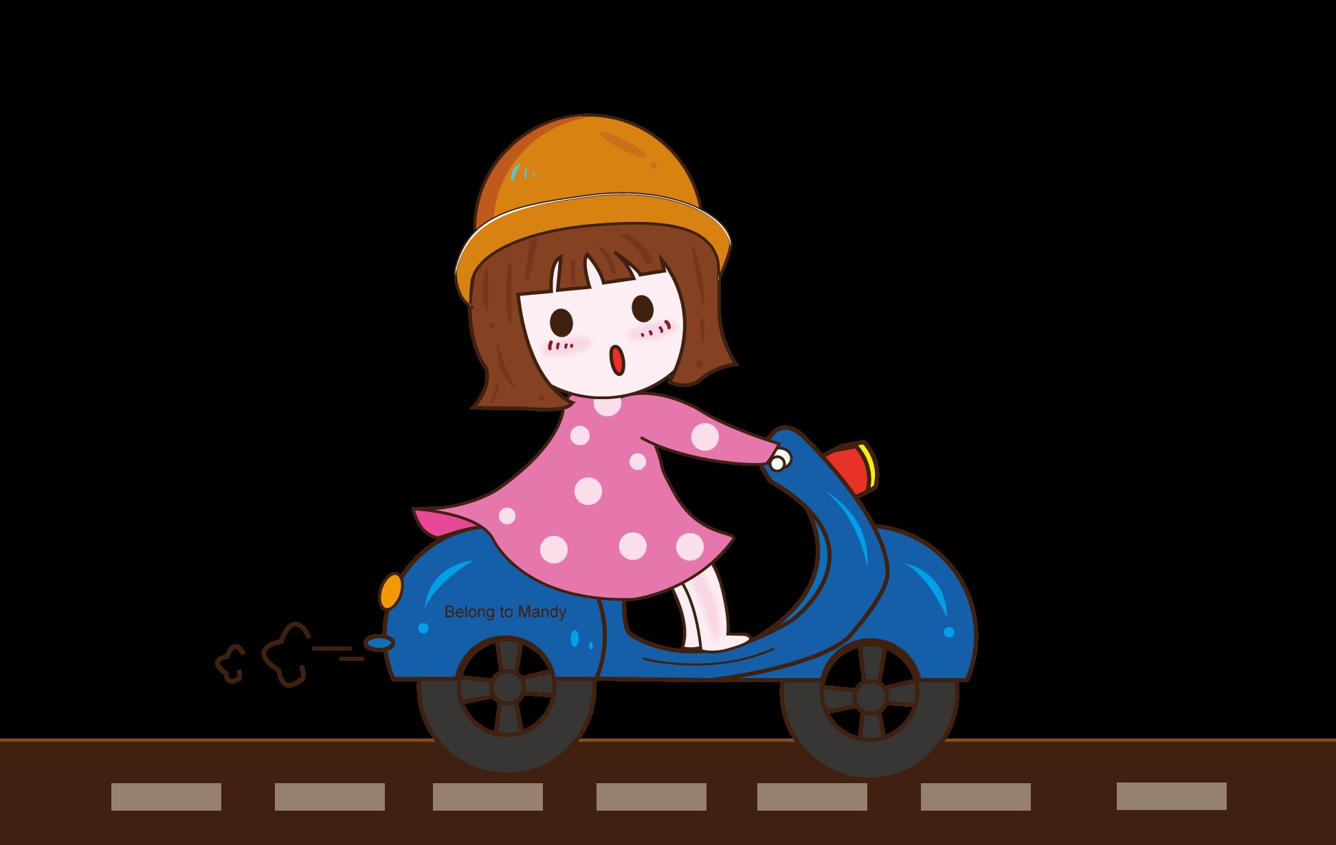 扁平化手绘骑车的小女孩!