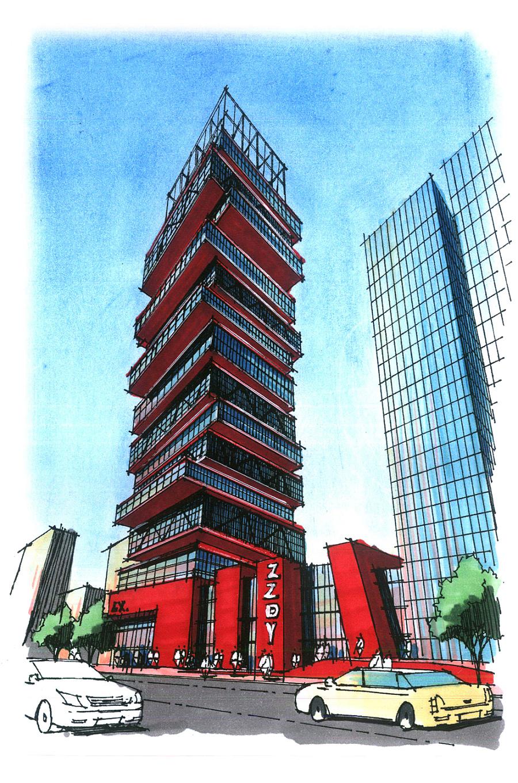 郑州大禹教育建筑手绘作品