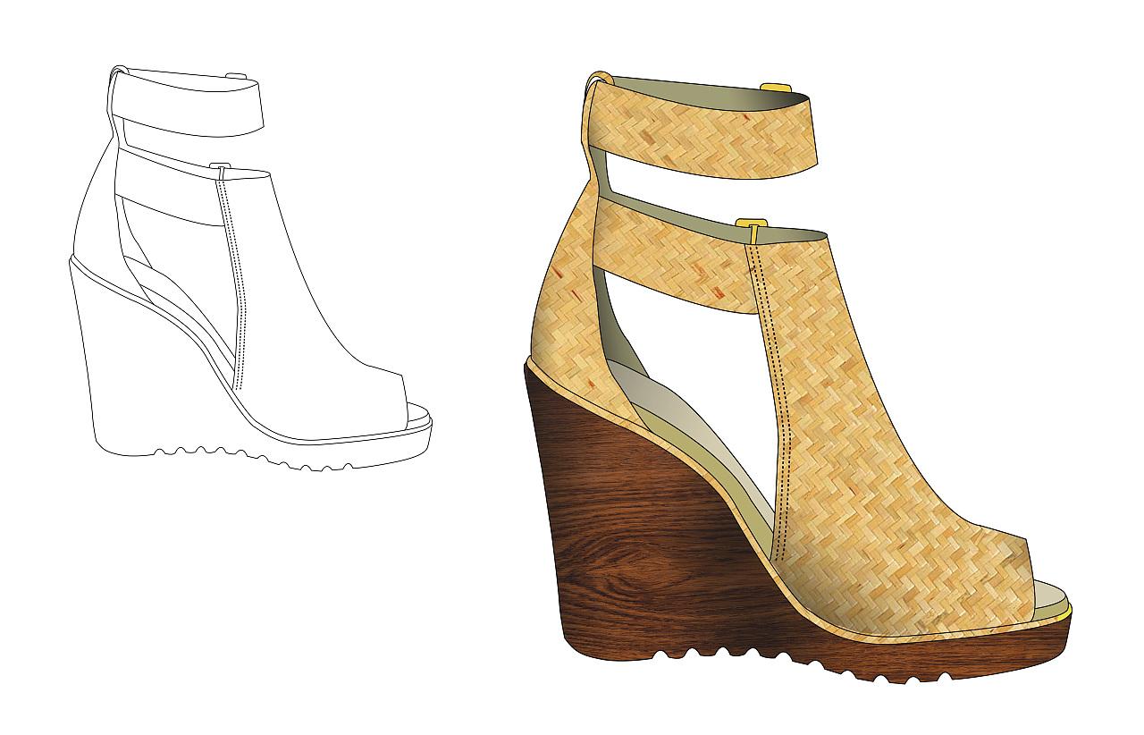 高跟鞋设计效果图 chloe风格作品集图片