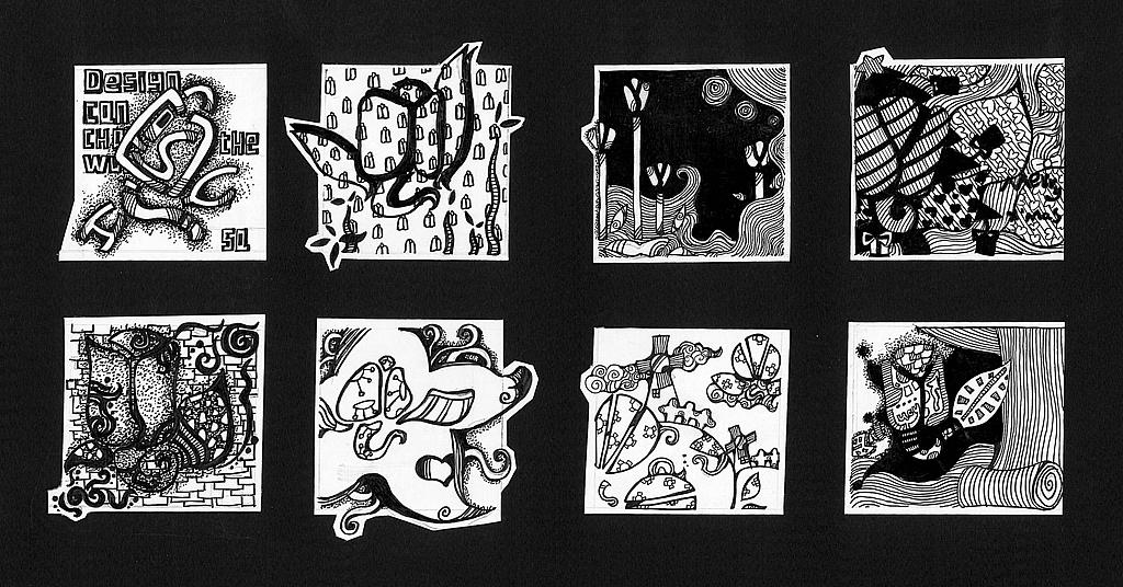 黑白练习(花卉变形)图片