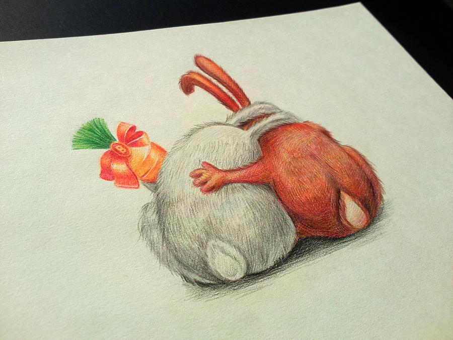 2b兔   插画 手绘 彩色铅笔