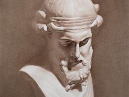 棕色素描-柏拉图石膏像
