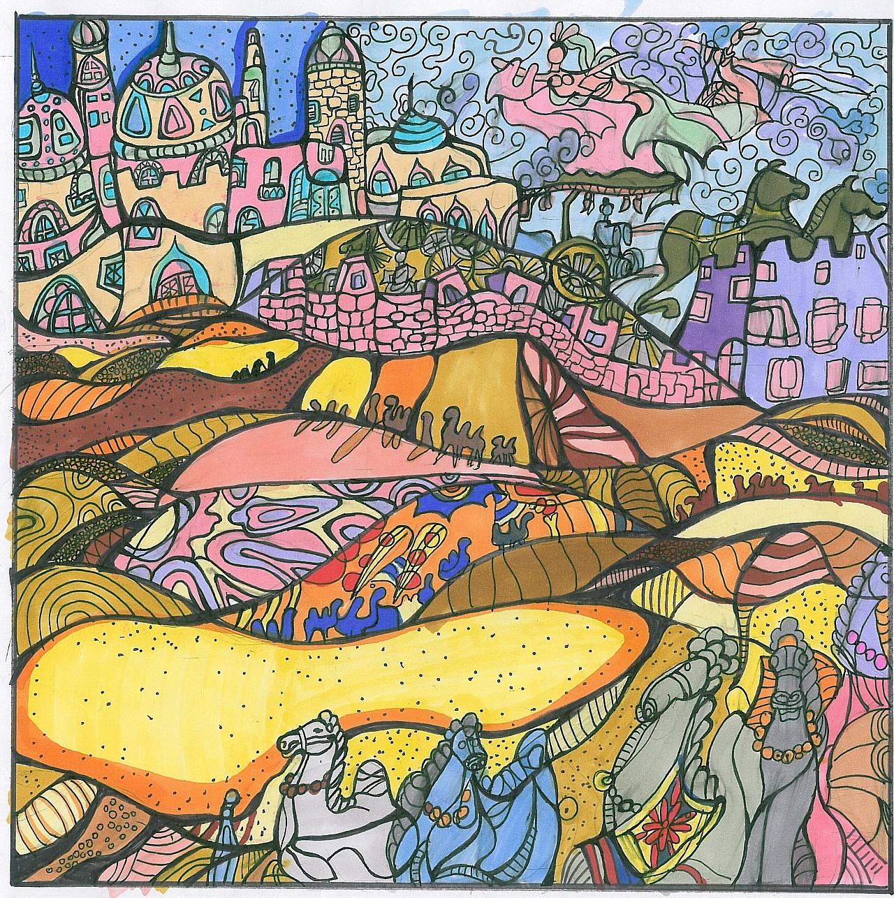 马克笔手绘《歌颂丝绸之路》装饰插画,设计基础图片