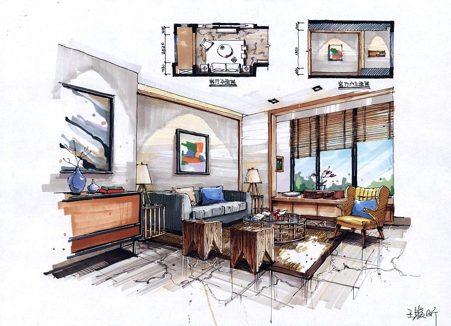 零基础学员室内手绘作品 |室内设计|空间|火星时代